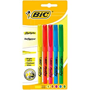 BIC Highlighter Fluorescent Pens - Assorted Colours, Pack of 5