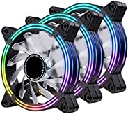 EZDIY-FAB 120mm Rainbow RGB LED Fans for CPU Fan, LED Effect Case Fan for Computer Cooling-3pack