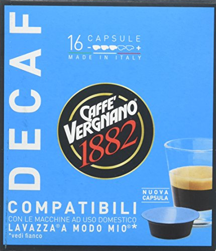 Caffe' vergnano 1882 capsule decaffeinato - 8 confezioni da 16 capsule compatibili lavazza a modo mio (tot 128 capsule)