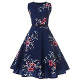 QUINTRA Damen Kleid Retro Cocktailkleid Vintage Druck Sleeveless Faltenrock beiläufiges Abend-Partei-Abschlussball-Schwingen-Kleid