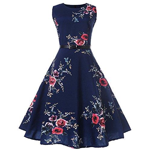 QUINTRA Damen Kleid Retro Cocktailkleid Vintage Druck Sleeveless Faltenrock beiläufiges...