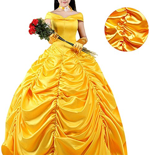 Die Kostüme Schöne Biest Das Und Halloween (Prinzessin Kleid Kostüm Halloween Kostüm für Schöne und das Biest Cosplay Belle Kleid Faschingskleid Halloween Erwachsene Damen Beauty and the Beast)