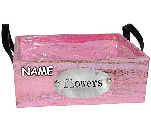 alles-meine.de GmbH 1 Stück _ Deko - Blumentopf / Pflanzkübel / Pflanzschale - Holz -  Flowers - rosa - pink  - incl. Name - lang - 25 cm - Pflanzkasten mit Henkel - Holzkiste ..