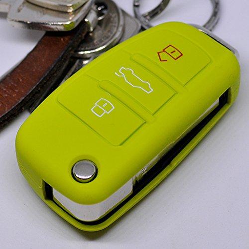 Soft Case Schutz Hülle Auto Schlüssel für Audi A1 S1 A3 S3 A6 S6 R8 Q7 Klappschlüssel Key Remote/Farbe: Apfelgrün
