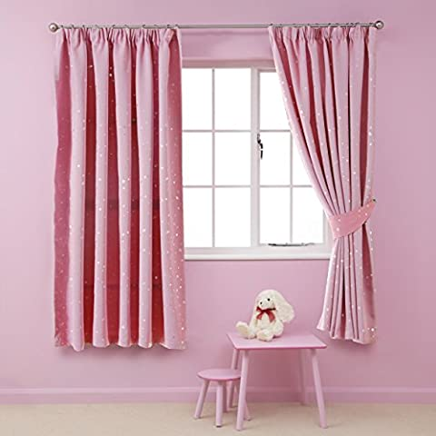 H.Versailtex Printed Blackout Pencil Pleat Pair Light Reducing Microfiber Curtains for Children, Thermal Insulated & Warm Protecting, Pink with Silver Stars, 46'' Width x 54''