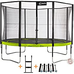 Kangui - Trampoline de Jardin Rond 430 cm + Filet de sécurité + échelle + kit d'ancrage PUNCHI Aloe 430