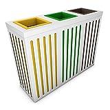 poubelledirect Abfalleimer Mülltrennung 3Becken 50Liter, Korpus: Weiß, 3fach Mülltrennung für Büro: Gelb, Grün, Braun–Orion 3x 50/60l