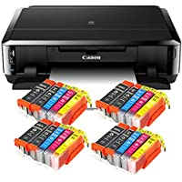 Canon Pixma iP7250 mit WLAN, Fotodrucker und CD-Bedruck, Auto Duplex Druck Tintenstrahldrucker + USB Kabel + Set 20 IC-Office XL Tintenpatronen (Originalpatronen Nicht im Lieferumfang)