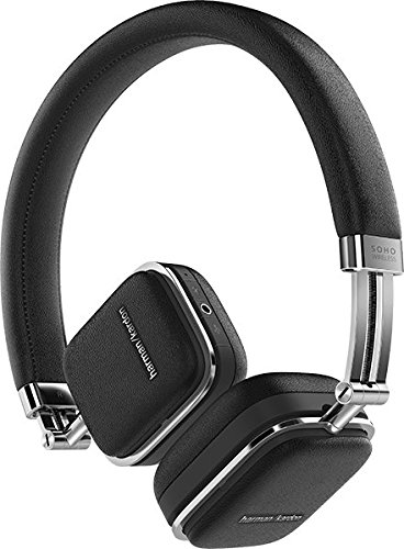 Harman/Kardon Soho Cuffie in Pelle Pieghevoli Sottili Bluetooth/NFC/Wireless e Custodia da Trasporto, Compatibile con Smartphone Apple iOS e Android/Tablet e Dispositivi MP3, Nero