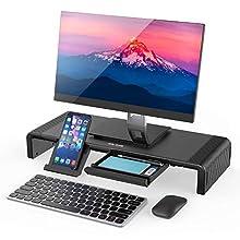 Jelly Comb Support Ecran PC Moniteur Pliable Organiseur pour Ordinateur imprimante, téléviseur Tablette—Longueur réglable avec Rangement et Petit tiroir, Blanc