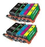 2Sets von 10Rundschal HYSON wiederaufbereitete Tintenpatronen PGI-525BK und CLI-526Schwarz/Cyan/Magenta/Gelb für Canon PIXMA iP4850/iP4950/iX6550MG5150/MG5250MG5350MX715/MX885/MX895
