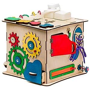 Aktivitätswürfel Holz mit Licht 12 in 1 Motorikwürfel Montessori Aktivitätsbrett Entwickelndes Spielzeug Beschäftigtes Brett Busyboard für Kinder