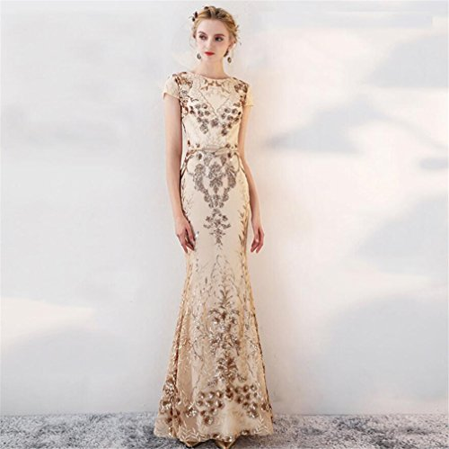 ELEGENCE-Z Elegante Gold Pailletten Bankett Abendkleider Lange Fischschwanz Abendessen Jährliche Kleider Temperament Kleider