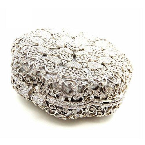 Borsa Della Frizione Delle Donne Di Lusso Del Raccoglitore Diamante Di Cristallo Di Sera Silver
