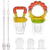 PChero 2pcs Baby Fruchtsauger Schnuller - Einer mit Ringing Handgrip - mit Schnuller Clips und 3 Silikon Nippel Ersatz (Gelb)