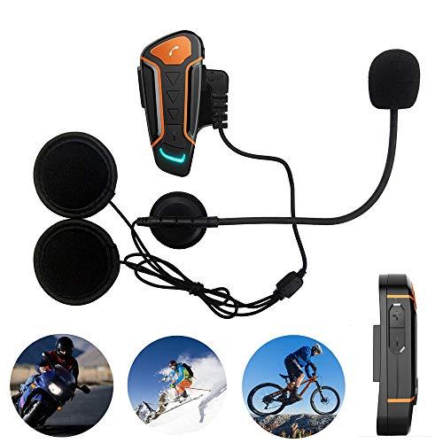 Wasserdichtes BT Motorradhelm Intercom Headset, Bluetooth-Interphone-Kommunikationssystem mit 1000m, FM Radio, MP3, Freisprechfunktion, Anschluss für bis zu 3 Fahrer, zum Reiten, Skifahren,2-Pack Fm Intercom