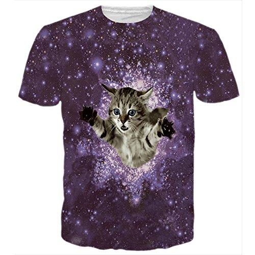 BFUSTYLE Unisex Starry Sky Cat Printed Grafik-T-Shirt Tops (Sky-grafik-t-shirt)