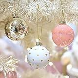 """Victor's Workshop 12 Pcs Bolas de Navidad Decoracion Arbol Navidad 6CM / 2.36""""Adornos para el árbol de Navidad,para Las Fiestas del Festival de Navidad, Rosa/Dorado / Blanco"""