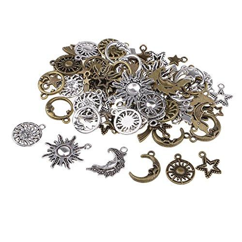 Homyl 80 pcs Stern Mond Sonne Form Anhänger Schmuck Anhänger aus Legierung für Schlüsselanhänger, Handyanhänger, Tasche Anhänger