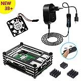 Kit für Raspberry Pi 3 Modell B+ Plus Gehäuse mit 5V 2.5 A Netzteil ON/OFF Schalter Lüfter Kühlkörper Schwarz