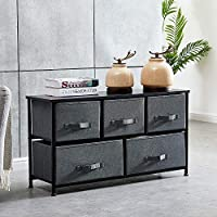 BOJU Bedroom Chest of Drawers Sideboard Grey Large Living Room Unit Storage Cabinet with Drawers for Hallway Kid Room Toy Organizer Cabinet with Metal Frame Fabric Drawers