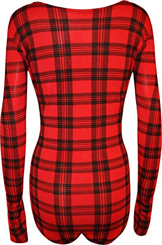 WearAll - Taille Plus tartan manches longues Body - Hauts - Femmes - Grande Tailles - 44-54 Rouge Tartan