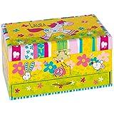 Geschenkidee.de Spieluhr mit Pony und Wunsch-Namen | Spieldose und Schmuckkästchen als Überraschungsgeschenk für Kinder | 19x11cm