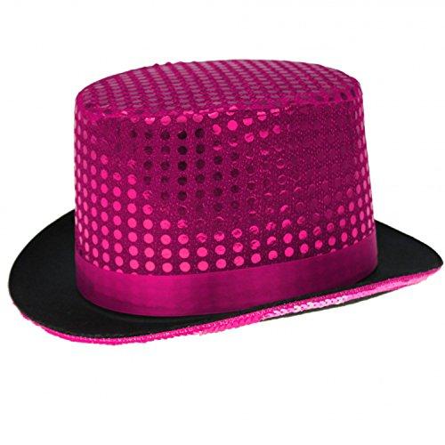 Pailletten Zylinder Hut Glitzer Kappe Sylvester Karneval Party 6 Farben (Pink)