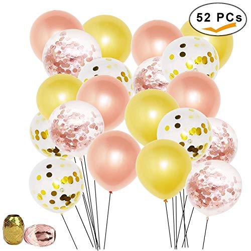 Globo Vita 52 piezas globo de látex boda fiesta decoración con oro rosa látex y globos de confeti precargados con cinta rosa dorada para cumpleaños boda Navidad aniversario ceremonia