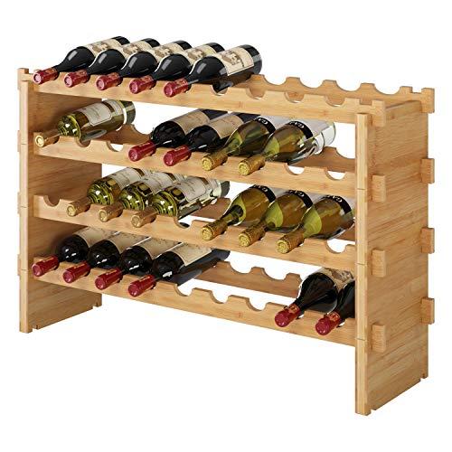 Homfa Weinregal mit 4 Ablagen Flaschenregal Bambus Weinhalter für 36 Flaschen 85 x 24 x 57cm