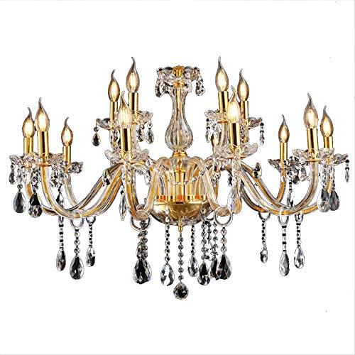 SAILUN® Kristall Kronleuchter Klassisch Hängeleuchte Golden Pendelleuchte Deckenleuchte antik Messing Kristall Lüster 10+5-flammig E14 (10+5 Lichter)