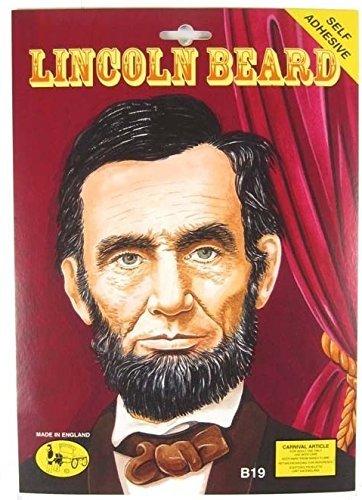Herren schwarz falsch Falscher zum Aufkleben selbstklebend Abraham Lincoln American BUSCHIGER Bart Kostüm Kleid Outfit Zubehör - Schwarz, One size (Abraham Lincoln Bart Kostüme)