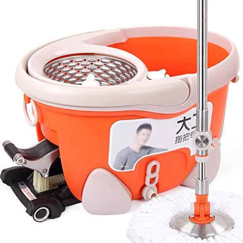 Centrifuga Set di mop e Secchiello per uragano, mop per Pedali a 360 Gradi con mop in Microfibra, mop per Pulizia Asciugatura (Dimensioni : 2 mop Heads)