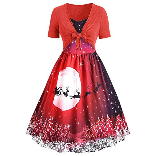 BIKETAFUWY Damen Weihnachten Kleid Spitzenkleid Elegant Christmas Festlich Ball Gown Abendkleid Cocktailkleid Retro Kurzarm Knielang Kleider Bow Knot Swing Dress Party Kleid