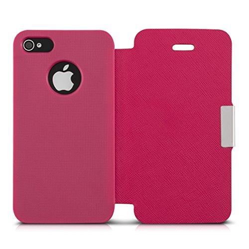 kwmobile Hülle für Apple iPhone 4 / 4S - Bookstyle Case Handy Schutzhülle Kunststoff - Flipcover Klapphülle Schwarz .Pink
