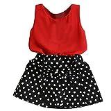Vestido plisado con chaleco para niñas Set de dos piezas de ropa Traje de falda para niños ❤️ Manadlian (Rojo, 5-6 años)