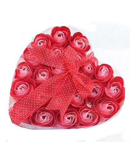 DAYAN Fiore Rosso Bagnetto Sapone Rose Petal 24 pc in scatola di cuore