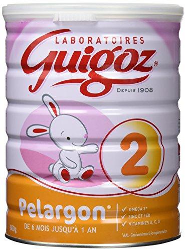 GUIGOZ Pelargon 2 - Lait infantile 2ème âge en poudre - de 6 à 12 mois - 800g - Lot de 3 boîtes de 800g