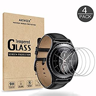 (Pack of 4) Screen Protector for Gear S2/Gear Sport, Akwox Tempered Glass [Explosion-proof] [0.3mm/2.5D] Screen Protector for Samsung Gear S2 / Classic Smart Watch 1.2 Inch