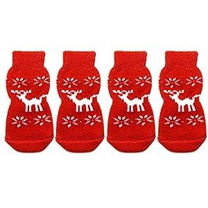 Gosear® 2 paires Rennes de Noël Non glisser les chaussettes pour chien chiot chat rouge