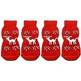Gosear® 2 paires de Rennes de Noël chaussettes anti dérapante pour chien chiot chat rouge XL
