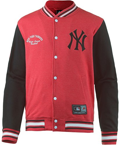 Majestic Yankees senells-Giacca in pile Letterman, rosso/nero, M