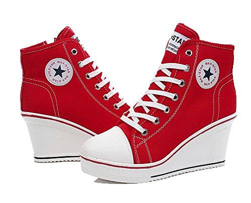 Lona Senhoras Hi Vermelho Wealsex Sapatilha Salto De Superior Cunha Sapatos aOFpa