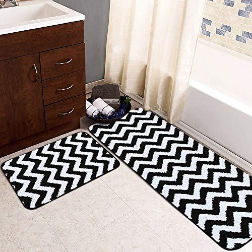 Carvapet 2-teiliges Mikrofaser-Teppich-Set mit Zickzack-Muster, rutschfest, weich, wasserabsorbierend, Badläufer, Küchenteppich 17
