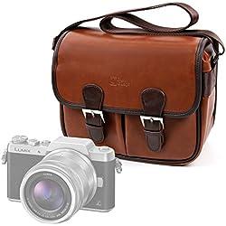 DURAGADGET Bolsa Profesional marrón con Compartimentos para Cámara Panasonic GF9 | Lumix DC-FZ82 | DC-GH5 | DC-GX850 | DMC-FZ80/HZ82 | Lumix G DC-GX800/Lumix GX850