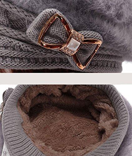Sitong bowknot en cristal de mode d¨¦cor¨¦ lapin fourrure tricot cap Gris