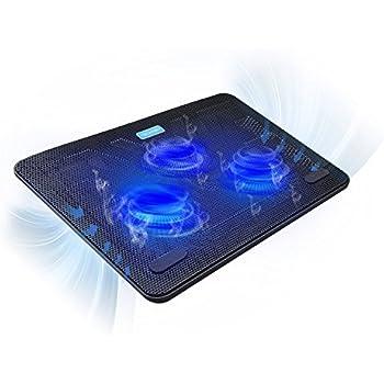 "Base Raffreddamento Laptop, TeckNet Notebook Cooler Portatile per 12""-17"" Laptop e PC Portatile, Supporto Base Ventola PC con 3 Ventole a LED e 2 Porte USB"