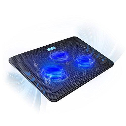 Base Raffreddamento Laptop, TeckNet Notebook Cooler Portatile per 12'-17' Laptop e PC Portatile, Supporto Base Ventola PC con 3 Ventole a LED e 2 Porte USB