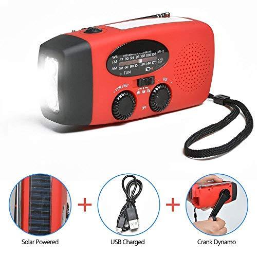 Radio Portable FMRadio Chargeur Solaire Alimenté, Urgence AM FM WB Poste de Radio Solaire avec LED Lampe de Poche pour Les urgences domestiques et extérieures