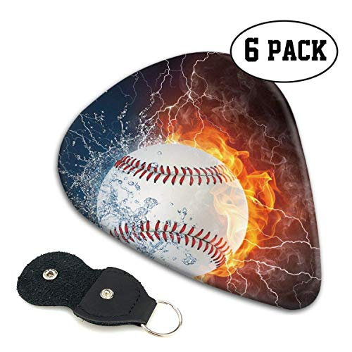 Softball Ball in Fire Wate 351 Shape Classic Celluloid Guitar Picks for Your Electric,Acoustic,Mandolin,Bass and Ukulele Guitar .71mm 6-Pack (Schwere Bälle Softball)